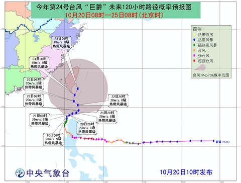 """20日至21日,""""巨爵""""将在菲律宾吕宋岛附近海域徘徊少动,强度变化不大。"""