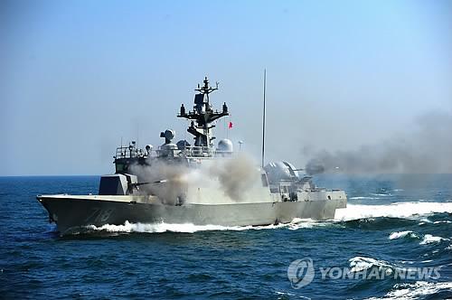 韩军向中国渔政船射击,来源:韩联社