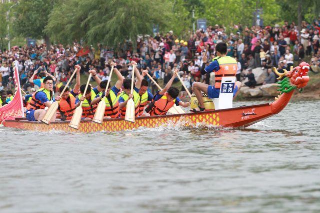 威海南海新区:中外赛龙舟 喜迎端午节