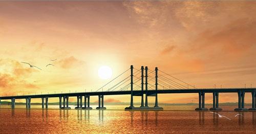 根据设计方案,青岛海湾大桥三个主航道桥(沧口,红岛和大沽河航道桥