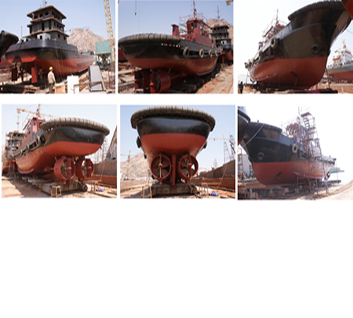 荣喜水产集团船厂正在建造的船只进展情况