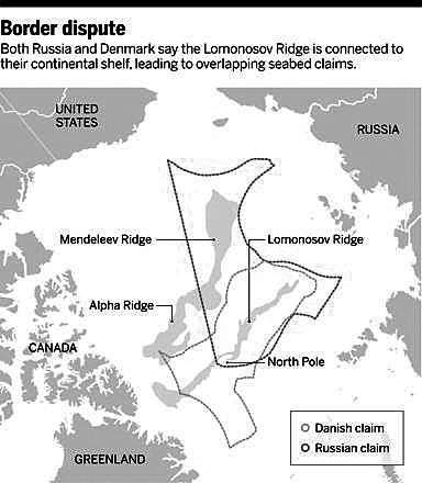 俄罗斯和丹麦都表示,罗蒙诺索夫海脊是该国大陆架的延伸,导致海底主权归属重叠。