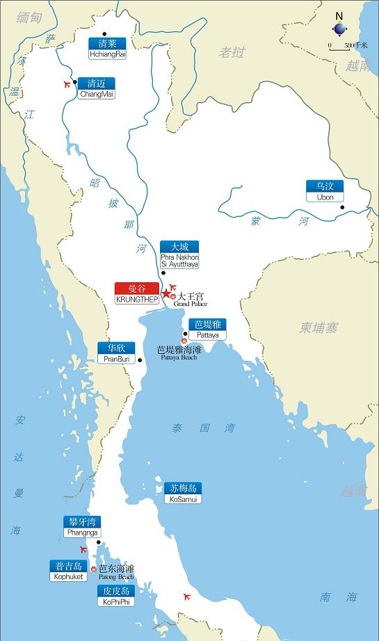 泰国旅游景点分布图